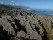 Pancake rocks. Rock formations at ocean in New Zealand royalty free stock image