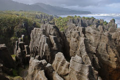 Pancake rocks. In Paparoa national park, New Zealand Royalty Free Stock Photo