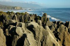 Pancake rocks. With ocean as background Stock Photo