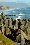 Pancake rocks. With ocean as background Stock Image