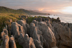 Pancake Rocks at dusk Royalty Free Stock Photo