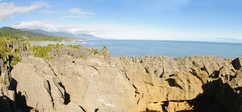 Pancake rocks. An interesting limestone sedimentary rock formation on the South Island of New Zealand Stock Images