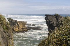 Pancake rocks in New Zealand Stock Photo