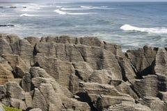 Pancake rocks with ocean royalty free stock images