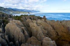 Pancake Rocks in Paparoa National Park, Punakaki rocks. Pancake Rocks in Paparoa National Park, New Zealand. Seascape with layered rock formation. Punakaki rocks Royalty Free Stock Photography