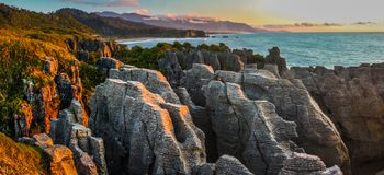 Pancake Rocks. Punakaiki, Paparoa National Park, South Island, New Zealand Royalty Free Stock Photography
