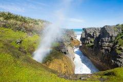 Pancake rocks in Punakaiki, South island, New Zealand. Pancake rocks, Punakaiki, South island, New Zealand Stock Image
