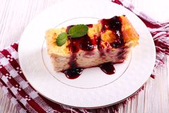 Pancake roll cake with jam topping Royalty Free Stock Photos