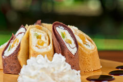 Pancake roll with marmalade Royalty Free Stock Images