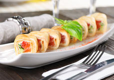 Pancake roll with salmon Royalty Free Stock Photography
