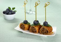 Pancake roll stuffed with minced meat Royalty Free Stock Photos