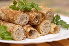 Pancake rolls Royalty Free Stock Images
