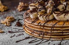 Pancake rustici con la banana Fotografia Stock Libera da Diritti