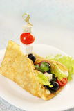 Pancake with salad on a skewer Stock Photography