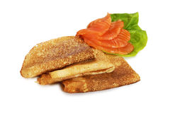 Pancake with salmon Royalty Free Stock Image