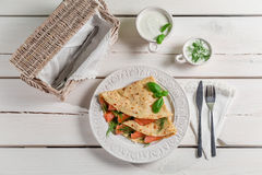 Pancake with salmon, dill and cream Stock Image