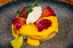 Pancake with salmon. And sauce stock photo