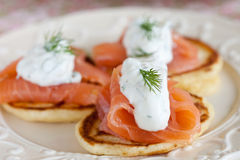 Pancake with salmon and sourcream Royalty Free Stock Images