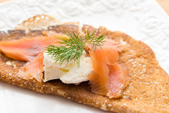 Pancake with salty salmon and white cheese Royalty Free Stock Images