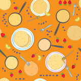 Pancake seamless pattern Stock Photos