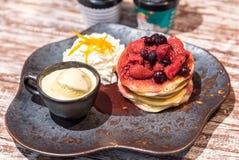 Pancake with ice cream. Pancake served with ice cream gelato Stock Photo