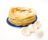 Pancake and shell Royalty Free Stock Photo
