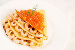 Pancake with shrimp Royalty Free Stock Photo