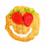 Pancake with smiley face Royalty Free Stock Images