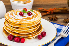 Pancake with sour cream Royalty Free Stock Image