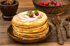 Pancake with sour cream Royalty Free Stock Images
