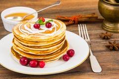 Pancake with sour cream Stock Photos