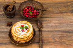 Pancake with sour cream Stock Photography