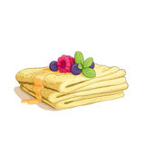 Pancake stack with berries Stock Photo