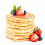 Pancake. Stack of pancake and berry Stock Photos