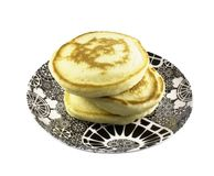 Pancake stack with clipping path. Freshly baked pancakes on stylish plate isolated on white background with clipping path Royalty Free Stock Photo