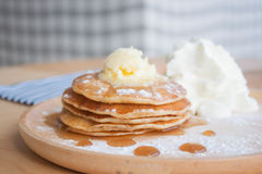 Pancake. Stack of pancake with honey and whipped cream Royalty Free Stock Photos