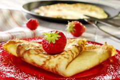 Pancake with strawberries Stock Image