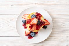 pancake with strawberries and blueberries royalty free stock photo