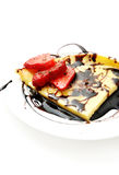 Pancake with strawberries and chocolate Royalty Free Stock Photography