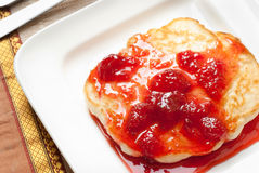 Pancake with strawberry Stock Images