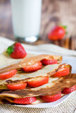 Pancake with strawberry Stock Image