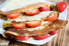 Pancake with strawberry Royalty Free Stock Photo