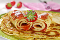 Pancake with strawberry. On a plate Royalty Free Stock Photos