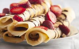 Pancake with strawberry and chocolate Stock Photo