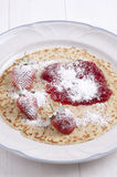 Pancake with strawberry and jam Stock Images