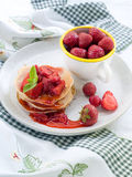 Pancake with strawberry Royalty Free Stock Image