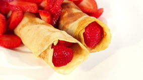 Pancake with strawberry stock video footage