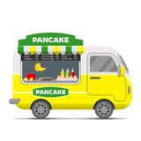 Pancake street food vector caravan trailer. Pancake street food caravan trailer. Colorful vector illustration, cute style,  on white background Royalty Free Stock Photography