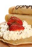 Pancake sul bordo di legno Immagini Stock Libere da Diritti