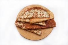 Pancake sul bordo di legno Fotografia Stock